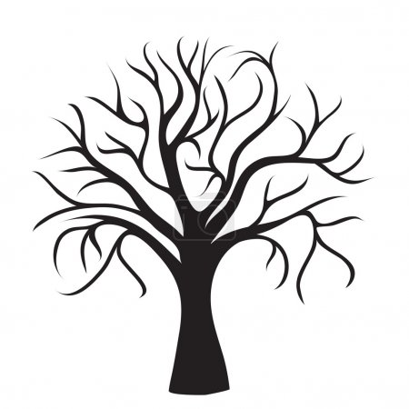 Illustration for Black tree without leaves on white background, vector image - Royalty Free Image