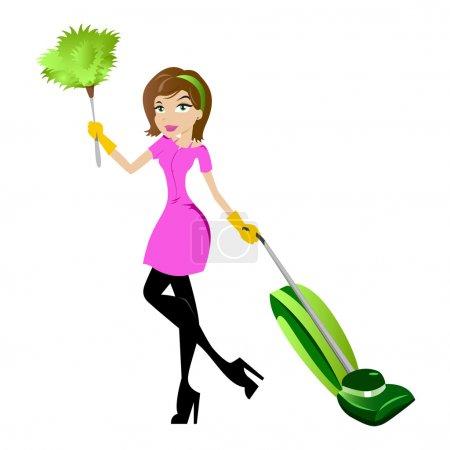 Illustration pour Femme de ménage avec plumeau et sous vide - image libre de droit