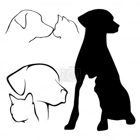 Photo for Various design icons of dogs and cats in black and white. - Royalty Free Image
