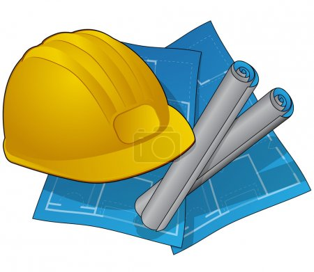 Hardhat and blue prints icon