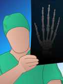 Doctor wearing scrubs and holding an x-ray up to the light