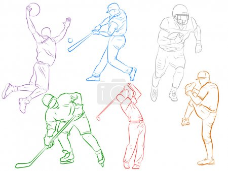 Illustration for Sports Outlines including; baseball, basketball, golf, hockey, and football - Royalty Free Image
