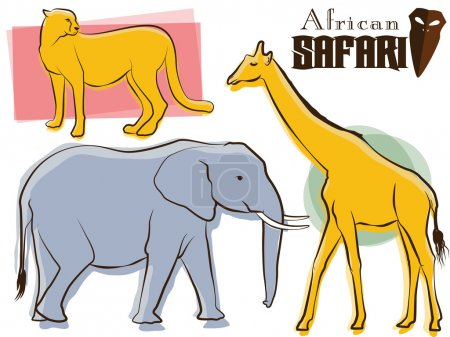 Illustration for Vintage elephant, cheetah, and giraffe illustration - Royalty Free Image