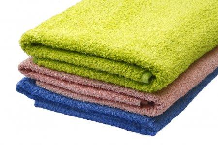Towels: blue, pink, green