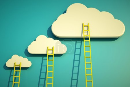 A competition concept, clouds with ladders on blue...
