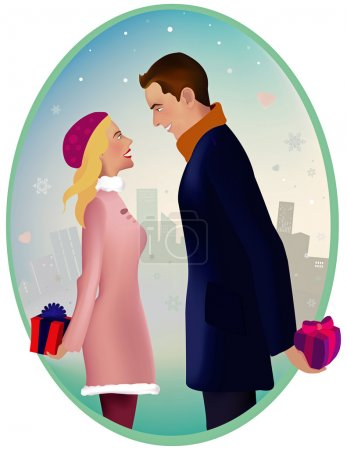 Illustration for Man and woman are standing outside, ready to give each other a present - Royalty Free Image