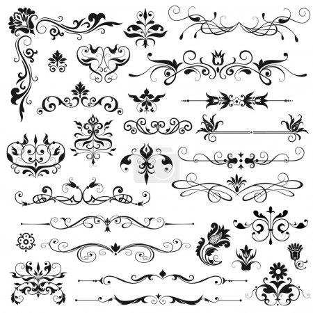 Illustration for Vector set of floral decorative elements - Royalty Free Image