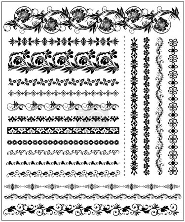 Photo for Vector Set of floral decorative borders - Royalty Free Image