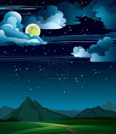 Illustration pour Nuit d'été avec pleine lune et montagnes sur un ciel étoilé - image libre de droit