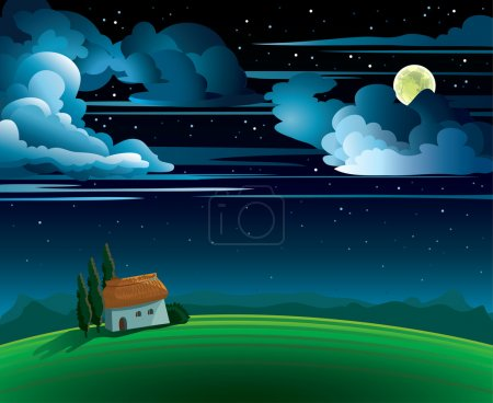 Illustration for Summer night with full moon and house on a cloudy sky - Royalty Free Image