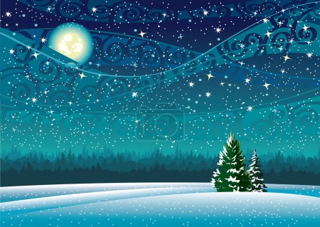 Vector wintry landscape with night sky and light m...