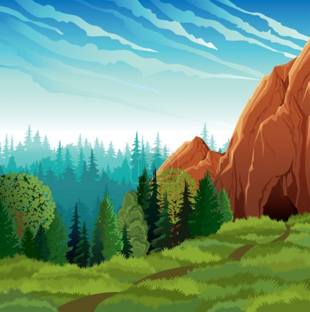 Illustration for Green landscape with meadow, forest and mountains on a cloudy sky background - Royalty Free Image