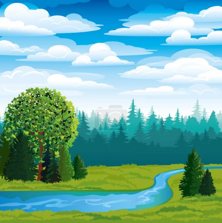Vector landscape with green grass, forest and blue...