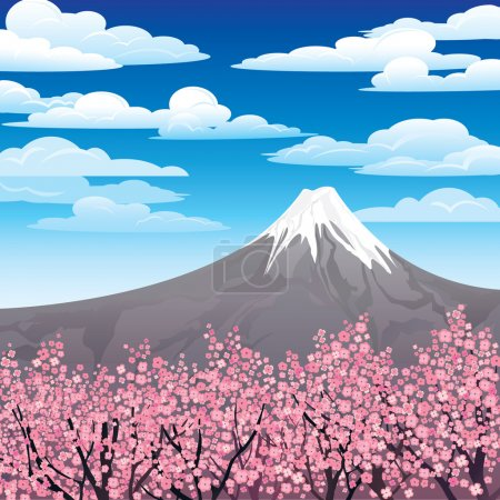 Illustration for Landscape with volkano and pink japanese trees on a cloudy sky - Royalty Free Image