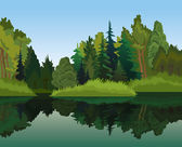 Landscape with green trees and blue lake