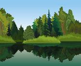 """Постер, картина, фотообои """"Пейзаж с зелеными деревьями и голубое озеро"""""""