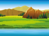 Vector landscape with mountains green trees and blue lake on a sky background