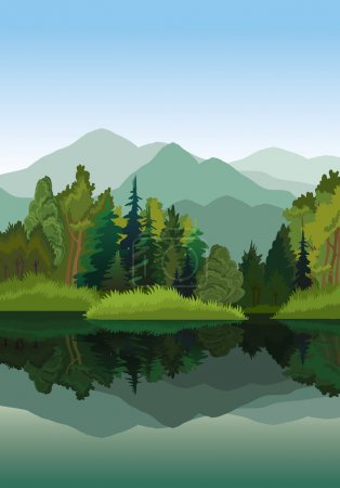 Illustration for Vector landscape with mountains, green trees and blue lake on a sky background - Royalty Free Image