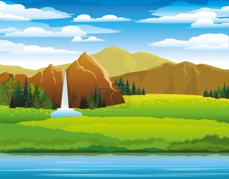 Illustration for Green landscape with meadow, mountains and woterfall on a cloudy sky background - Royalty Free Image