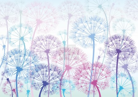 Illustration for Vector colored dandelions on a blue background - Royalty Free Image
