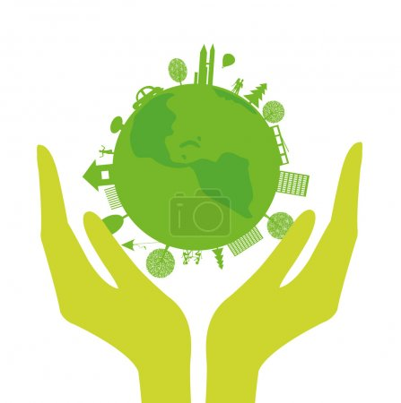 Illustration for Vector with human hands and green planet on a white background - Royalty Free Image