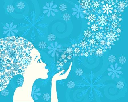 Illustration pour Hiver belle femme et flocons de neige sur un fond bleu - image libre de droit
