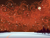 Beautiful wintry landscape with night red sky snow-covered nature and light moon