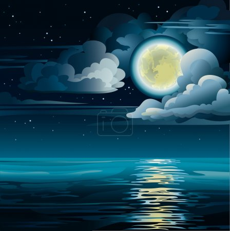 Illustration for Vector night cloudy sky with yellow moon, stars and calm sea - Royalty Free Image