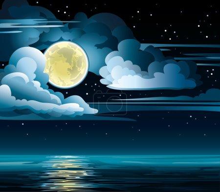 Illustration pour Ciel nuageux vecteur nocturne avec étoiles, lune jaune et mer calme - image libre de droit