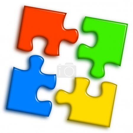 Photo for Combined multi-color puzzle representing cooperation and team work concept - Royalty Free Image