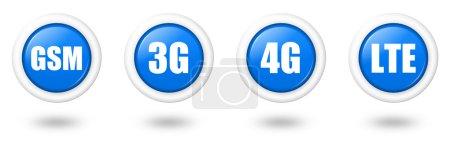 Photo pour Ensemble d'icônes de télécommunication bleu LTE, 4G, 3G et GSM avec bordure blanche et ombre - image libre de droit