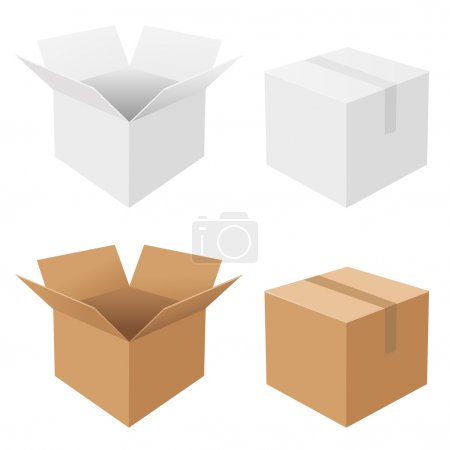 4 Boxes, Isolated On White Background, Vector Back...