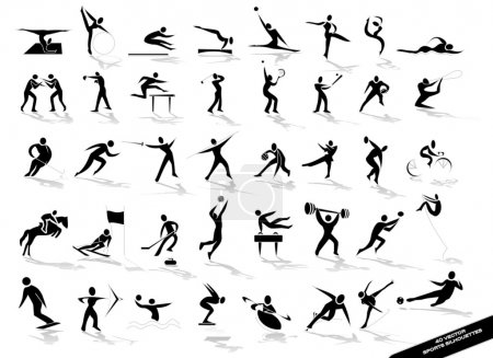 Illustration for Sporting silhouettes in vector - Royalty Free Image