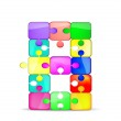 Letter B with colorful puzzle, vector...