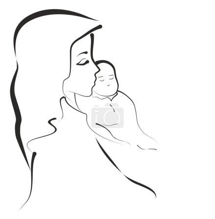 Madonna con Gesù Bambino, vettoriale...