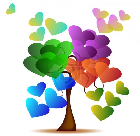 Illustration for Abstract background with tree and colored hearts - Royalty Free Image