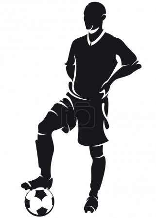 Vector football (soccer) player standing, silhouette