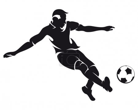 Vector football (soccer) player running silhouette with ball