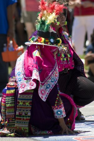 Photo for Peruvian dancers in a parade in Washignton DC. - Royalty Free Image