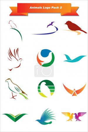 Photo for Set of animal logos suitable for any company - Royalty Free Image
