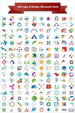 Illustration for This is a set of vector logo & design elements, 160 pieces suitable for several projects. Full editable - Royalty Free Image