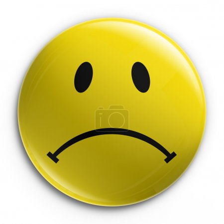 3d rendering of a badge with a sad smiley...