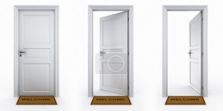 Doors with welcome mat