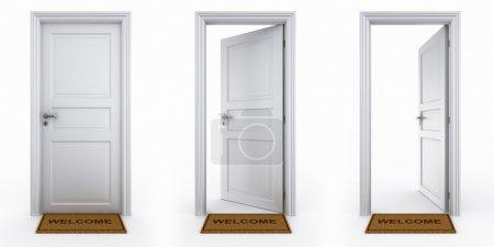 Photo pour Rendu 3D d'un dor en trois étapes avec tapis d'accueil - image libre de droit