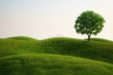 Photo for 3d rendering of a green field with an elm tree - Royalty Free Image