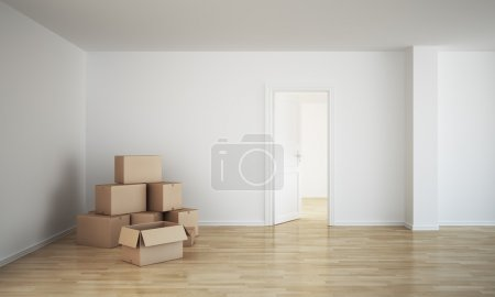 Photo for 3d rendering of an empty room with cardboard boxes and an open door - Royalty Free Image