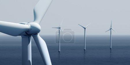 Photo pour 3d rendu des éoliennes sur l'océan - image libre de droit