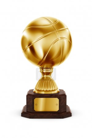 Gold basketball trophy
