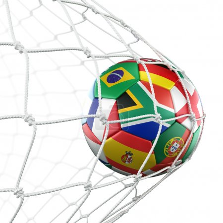 Soccerball with flags in net
