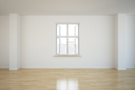 Empty room with a open window